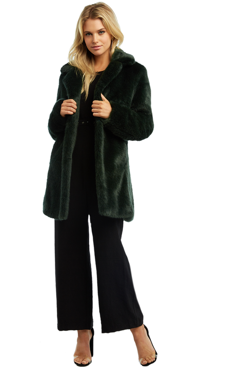 FAUX FUR MIDI COAT in colour GREEN GABLES