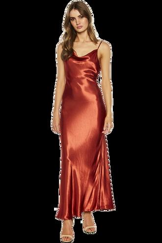 ESTELLE DRAPE DRESS in colour BARN RED