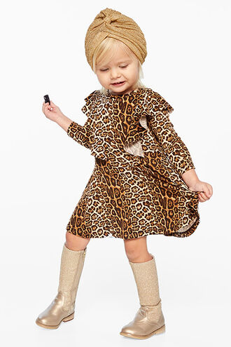 LEOPARD RUFFLE DRESS in colour LATTE
