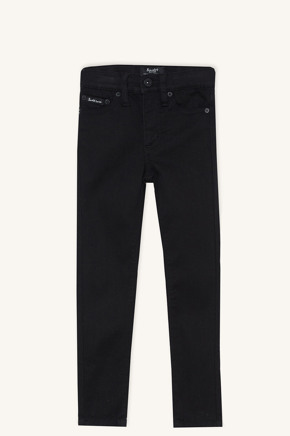 JUNIOR GIRL SIENNA MID RISE JEAN in colour JET BLACK