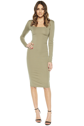 NEVE LONG SLEEVE MIDI DRESS in colour OLIVINE