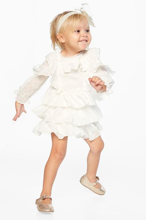 TAYLOR TIER DRESS in colour CLOUD DANCER
