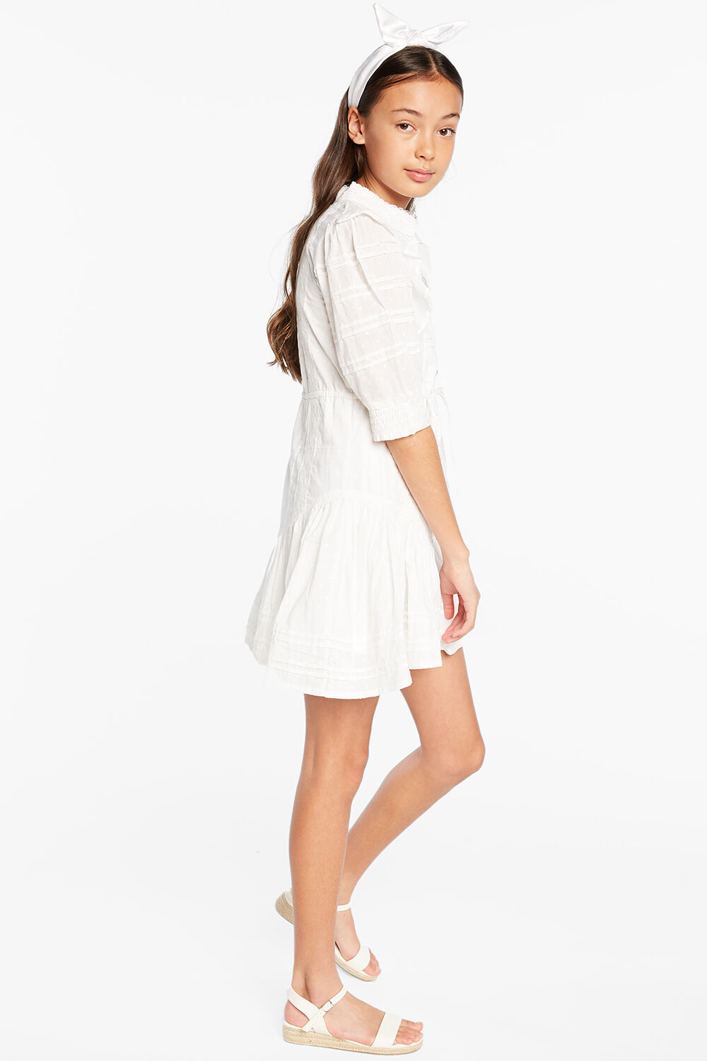 LUCY TRIM DRESS in colour CLOUD DANCER