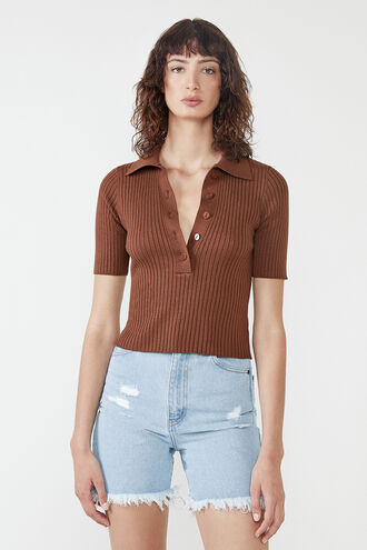 CROP COLLAR TEE in colour BITTER CHOCOLATE