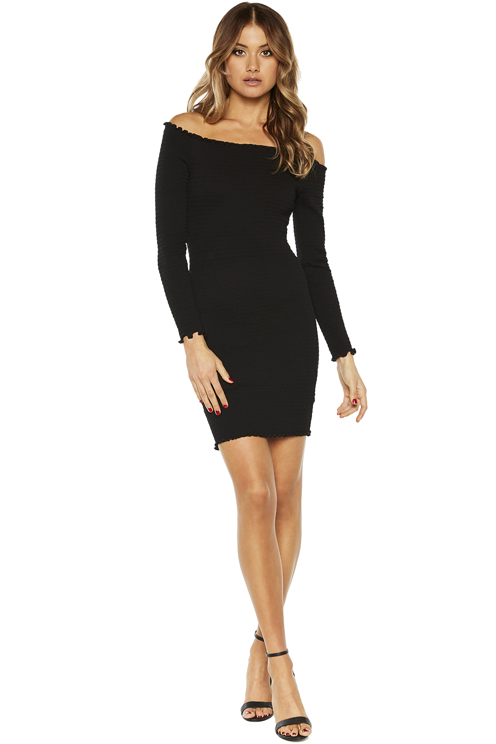 OFF SHOULDER LONG SLEEVE DRESS in colour CAVIAR