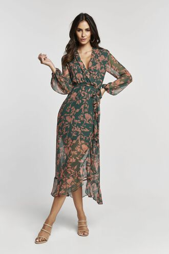 JUSTINE FLORAL DRESS in colour KELLY GREEN