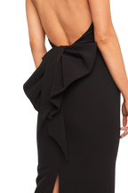 JAYDEN BOW DRESS in colour CAVIAR