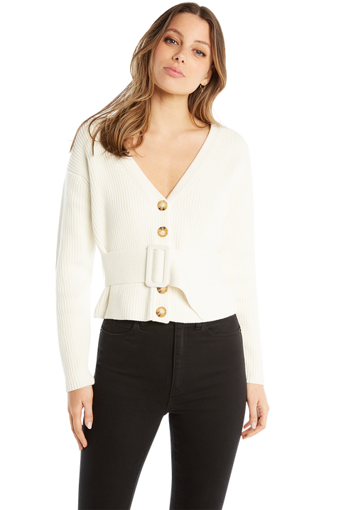 BELTED KNIT CARDIGAN in colour CLOUD DANCER