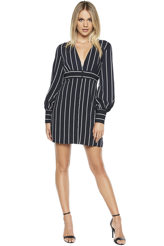 STRIPE BUTTON DRESS in colour PEACOAT