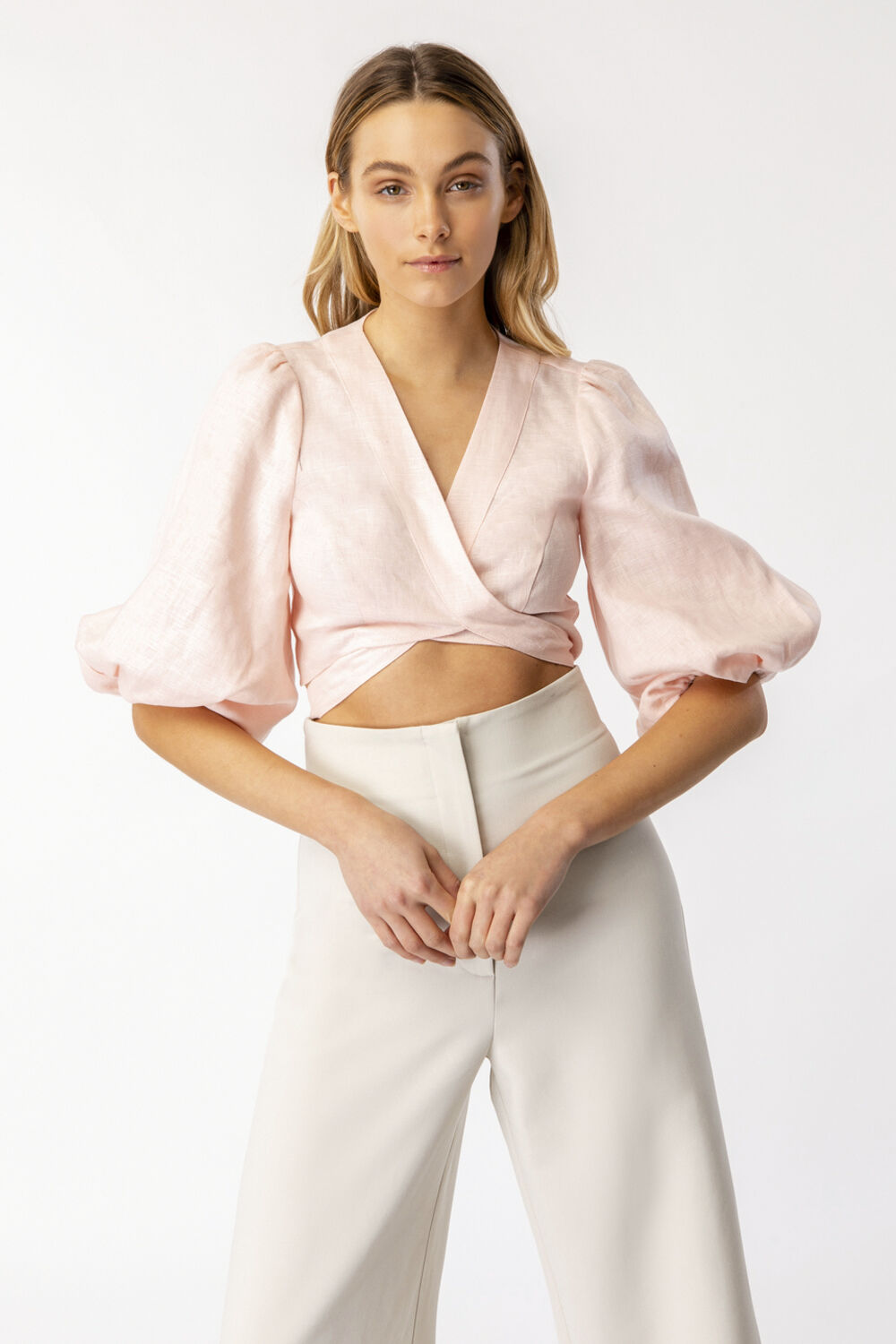 MIKA LINEN TOP in colour SOFT PINK