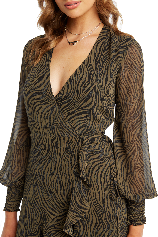 ZEBRA WRAP DRESS in colour METEORITE