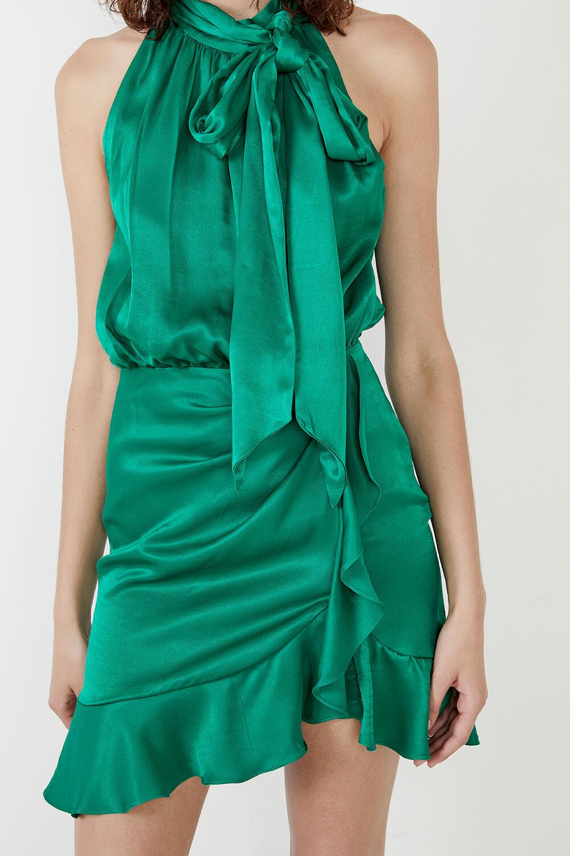 ETTA TIE NECK DRESS in colour CLASSIC GREEN