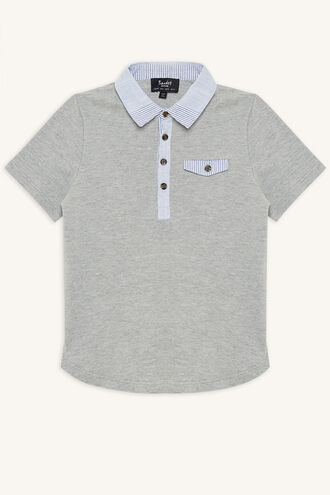 CONTRAST POLO in colour MOONBEAM