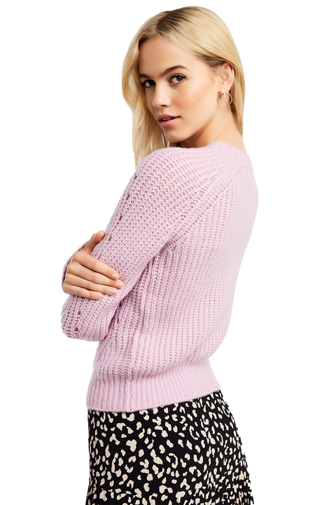 COSY CABLE KNIT in colour LILAC HINT