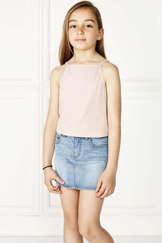 TWEEN GIRL PARIS SHIMMER TANK in colour PRIMROSE PINK
