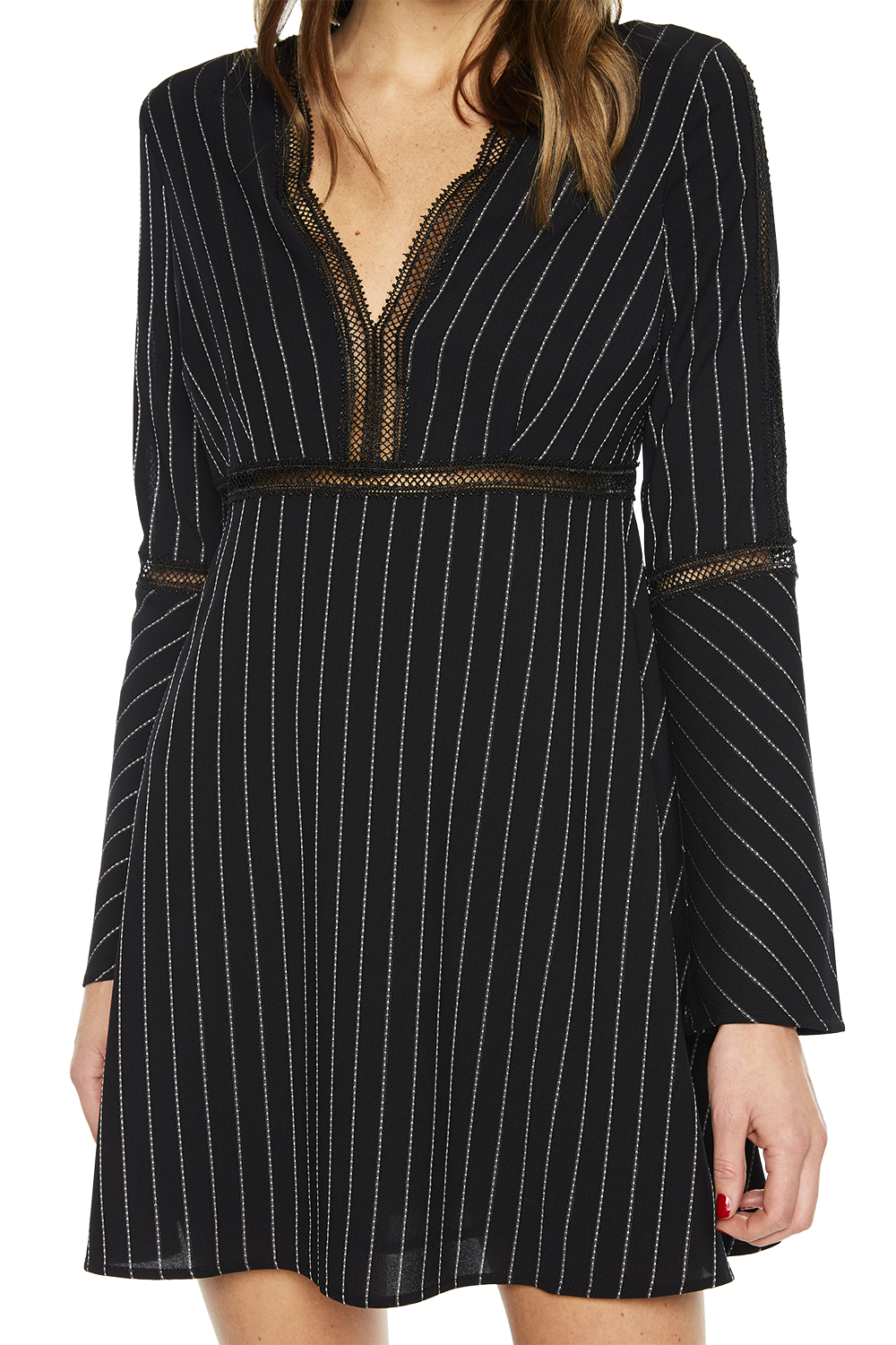 PINSTRIPE DRESS in colour CAVIAR