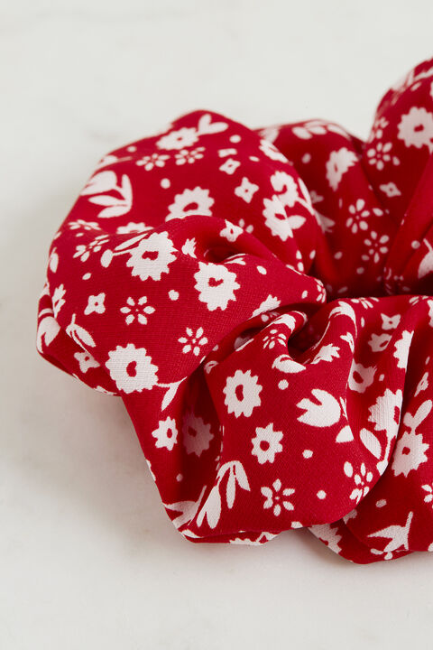 RED FLORAL SCRUNCHIE in colour FIESTA