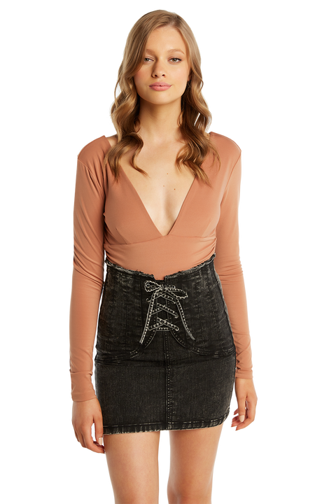 ALI LONG SLEEVE BODYSUIT in colour COPPER BROWN