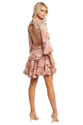 FLORAL FRILL DRESS in colour PINK NECTAR b81fd49b4