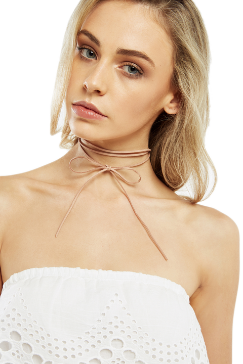 BOW LEATHERETTE LARIAT CHOKER in colour TAN