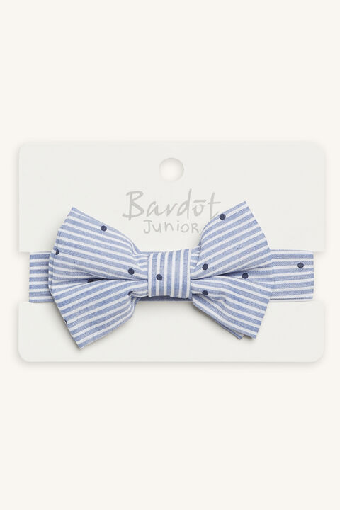 STRIPE & SPOT BOW TIE in colour BLUE BELL