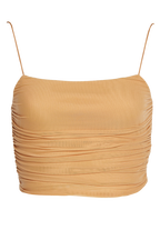 VERA MESH TOP in colour RUGBY TAN