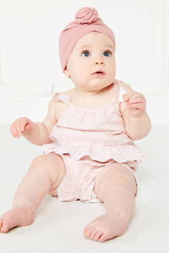 DOT TRIM ROMPER in colour STRAWBERRY CREAM