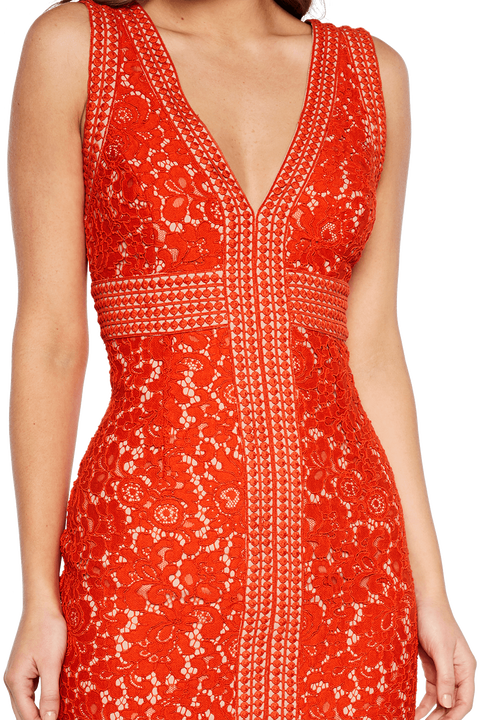 HALTER LACE DRESS in colour FLAME