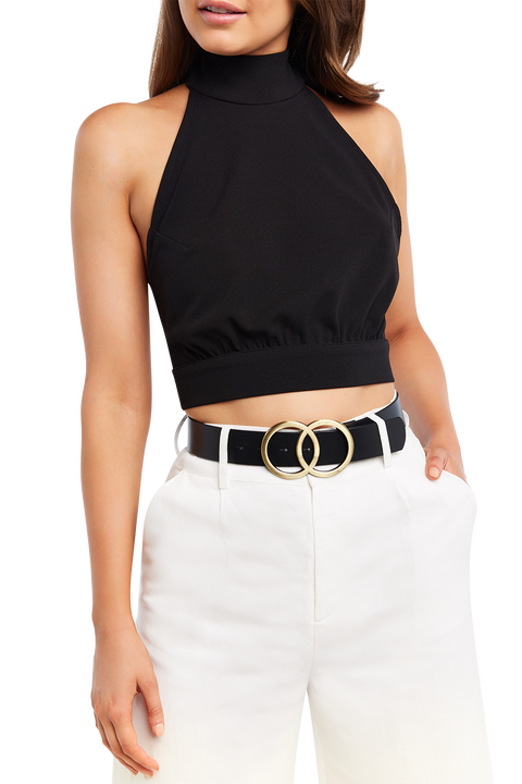 MACEY HALTER TOP in colour CAVIAR