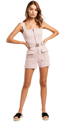 BUCKLE SHORT PLAYSUIT in colour CRYSTAL GRAY
