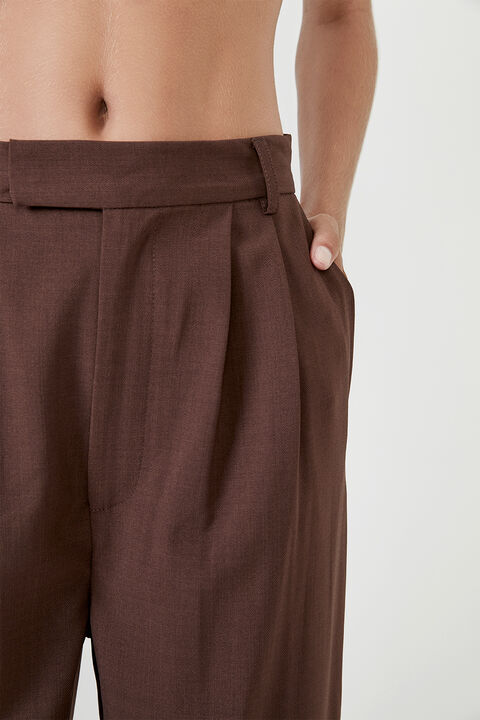 TUCK FRONT TROUSER  in colour BITTER CHOCOLATE