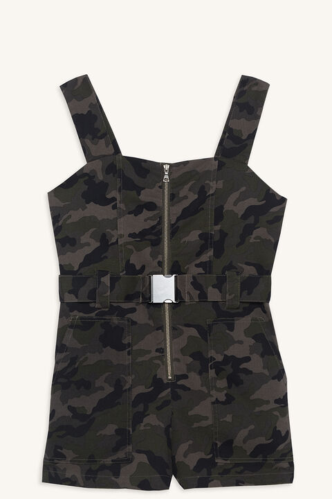 CAMO PLAYSUIT in colour BURNT OLIVE