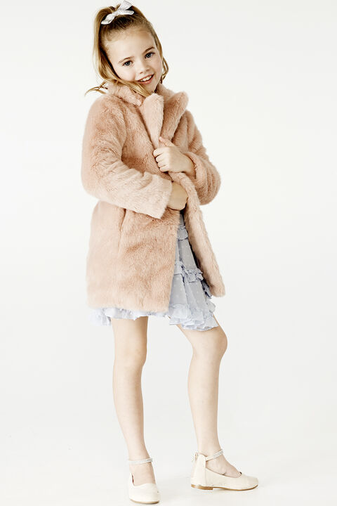 JUNIOR GIRL FAUX FUR MIDI COAT