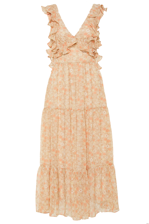 SIMONA FLORAL DRESS in colour CREAM TAN