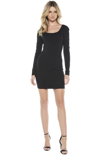 NEVE LONG SLV DRESS in colour CAVIAR