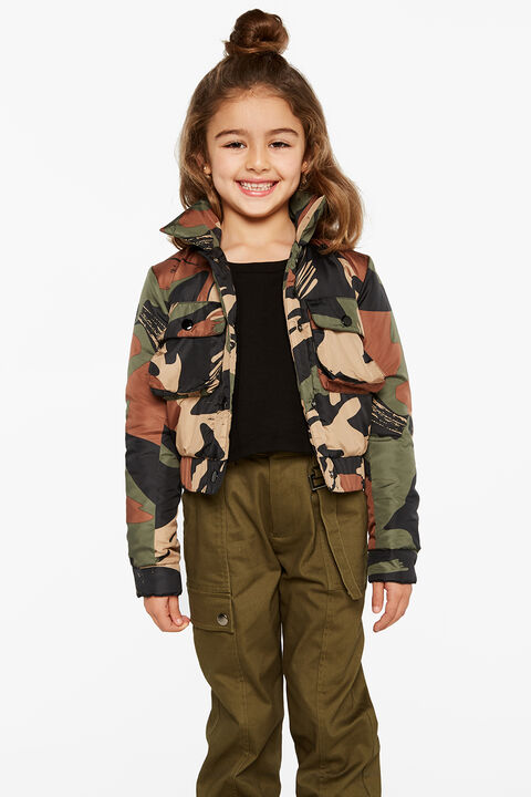 ZELDA CROP BOMBER in colour BURNT OLIVE