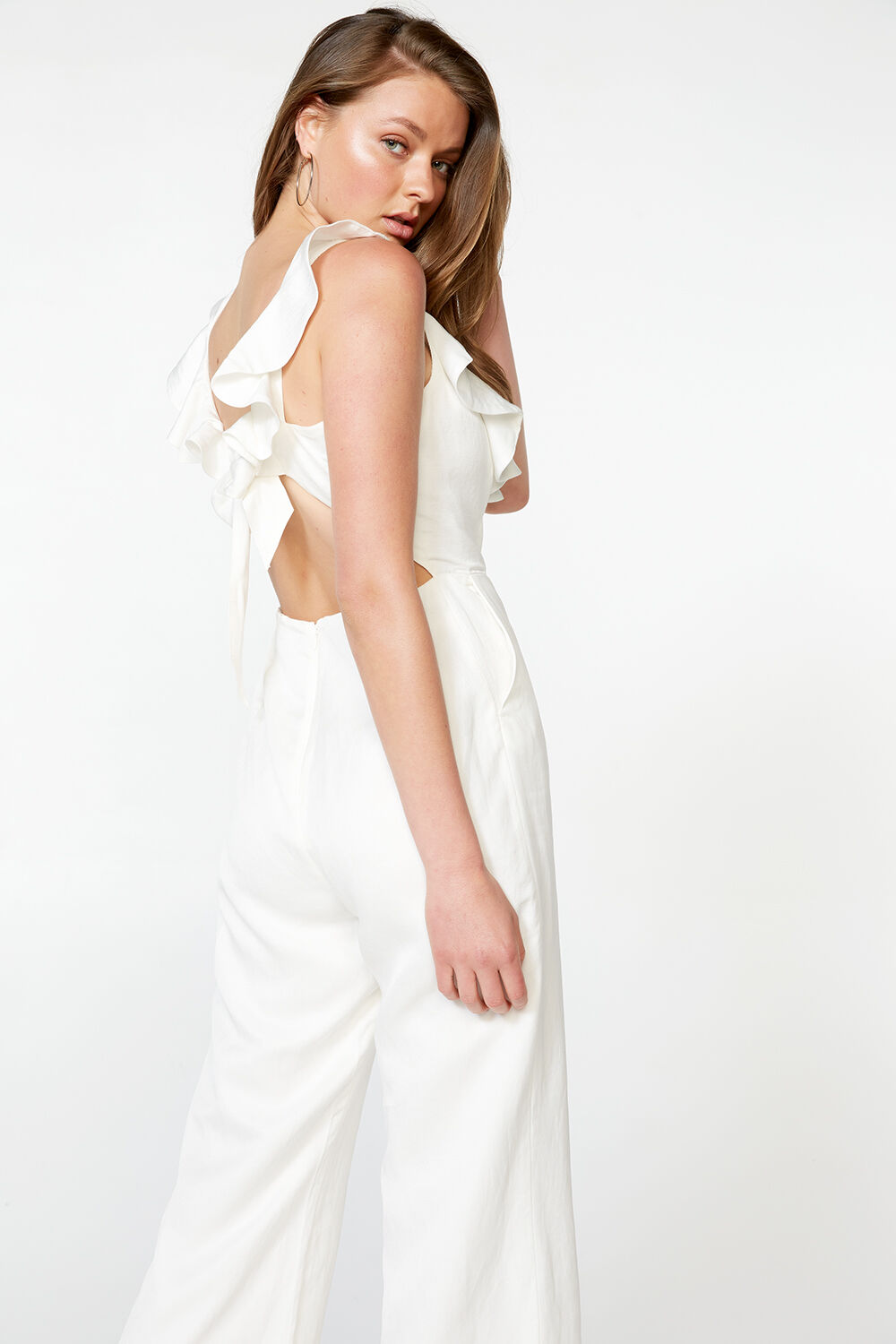 HILDA FRILL JUMPSUIT in colour CLOUD DANCER