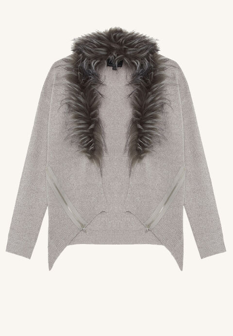 FAUX FUR CARDIGAN in colour FROST GRAY