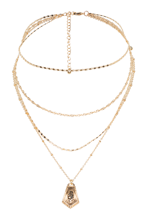 CHAIN CHOKER DROP NECKLACE in colour GOLD EARTH