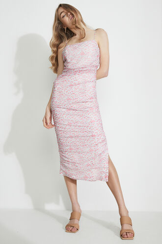 DITSY ROUCHED MIDI DRESS in colour PINK ICING