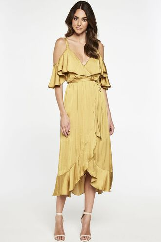 BEA WRAP DRESS in colour PALE GOLD