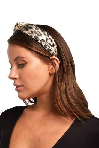 LEOPARD METALLIC KNOT  HEADBAND in colour ANTELOPE