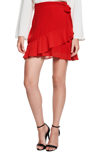 FRILL WRAP SKIRT in colour TOMATO PUREE