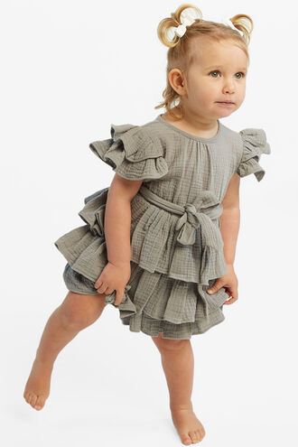 EDNA RUFFLE DRESS in colour PEWTER