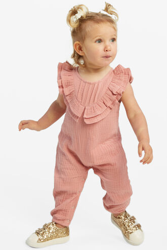 PEGGY RUFFLE ROMPER in colour STRAWBERRY ICE