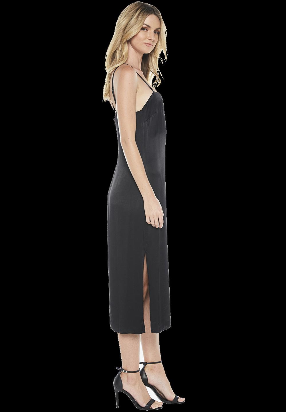 VANIA STRAP DRESS in colour CAVIAR