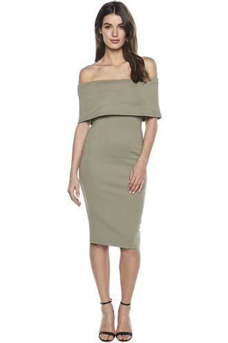 BELINDA DRESS in colour DEEP LICHEN GREEN