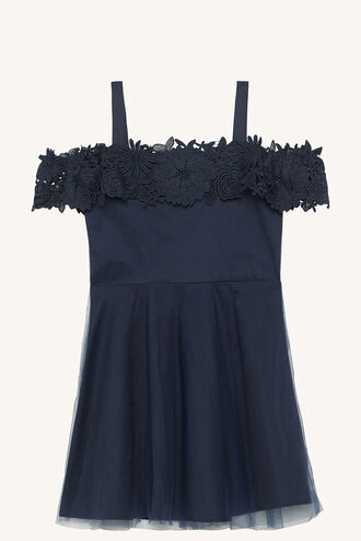 NOLA BARDOT DRESS in colour PATRIOT BLUE