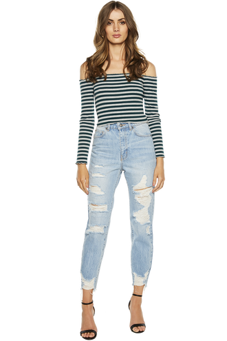 CARLY RIB CROP TOP in colour PONDEROSA PINE
