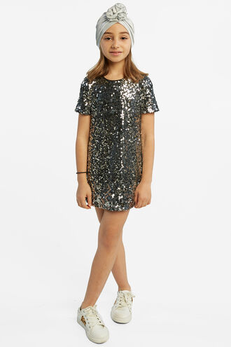 MILEY SEQUIN SHIFT in colour LUNAR ROCK